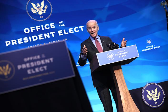 U.S. President-elect Joe Biden delivers remarks after he announced cabinet nominees that will round out his economic team, including secretaries of commerce and labor, at The Queen theater on January 08, 2021 in Wilmington, Delaware. (Chip Somodevilla/Getty Images)