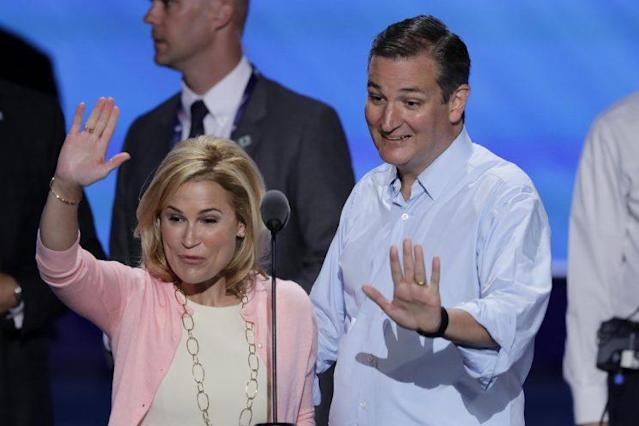 Sen. Ted Cruz, R-Tex., and wife Heidi wave from the podium during a sound check before the third day of the Republican National Convention in Cleveland, Wednesday, July 20, 2016. (Photo: J. Scott Applewhite/AP)