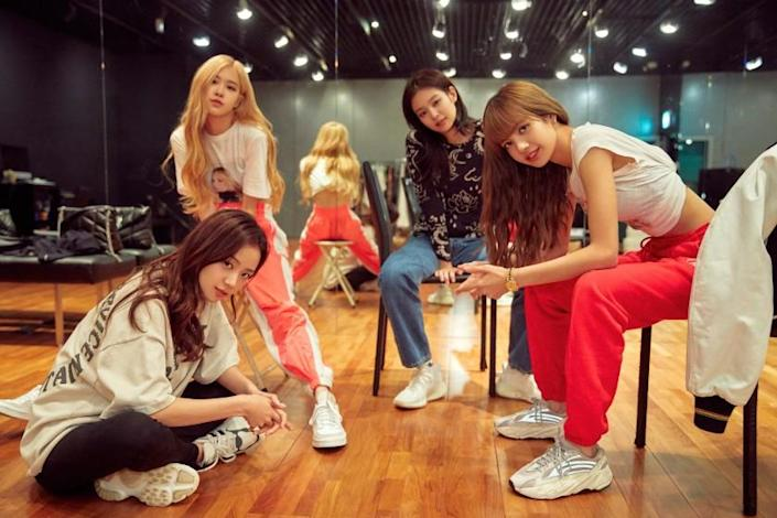 "Blackpink's Jisoo, clockwise from lower left, Rosé, Jennie and Lisa in a scene from ""Light Up the Sky."""
