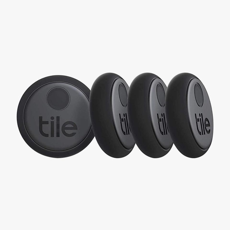 "Attach these little gadgets on to anything that you don't want to lose—the bluetooth trackers will help you keep them around. $60, AMAZON. <a href=""https://www.amazon.com/Tile-RE-25004-Sticker-4-Pack/dp/B07W4XYTPY/"" rel=""nofollow noopener"" target=""_blank"" data-ylk=""slk:Get it now!"" class=""link rapid-noclick-resp"">Get it now!</a>"