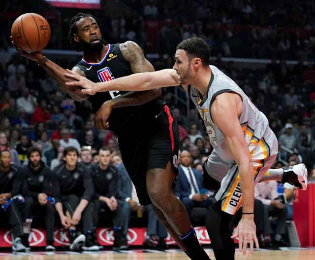 Mar 9, 2018; Los Angeles, CA, USA; Los Angeles Clippers center DeAndre Jordan (6) and Cleveland Cavaliers forward Larry Nance Jr. (22) battle for the rebound during the first quarter at Staples Center. Mandatory Credit: Kelvin Kuo-USA TODAY Sports TPX IMAGES OF THE DAY