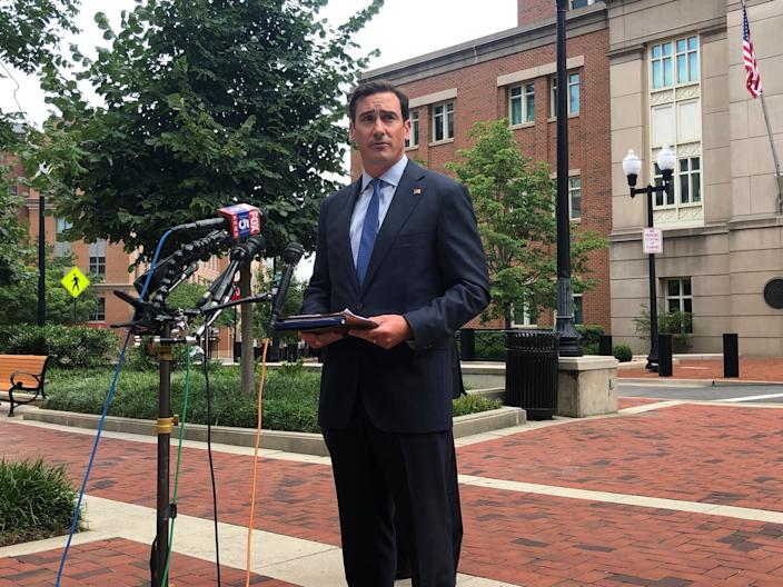US Attorney for the Eastern District of Virginia, G. Zachary Terwilliger speaks on an MS-13 sex trafficking case at a press conference Wednesday, Aug. 5, 2020 outside the federal courthouse in Alexandria, Virginia.
