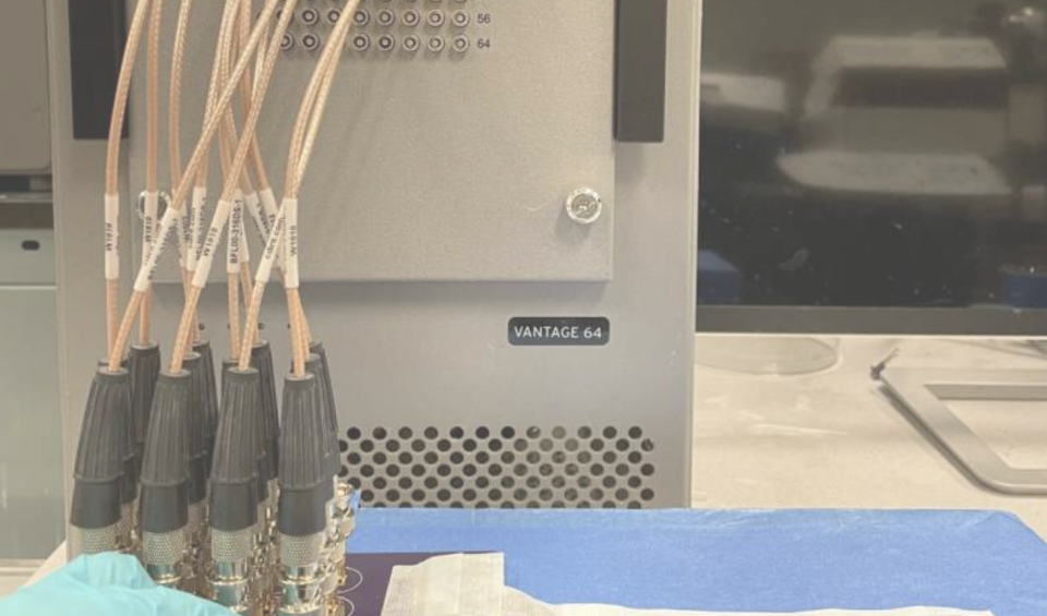 The prototype patch has to be connected to a power source and bench-top machine. Engineers are working on making it wireless. (Nature Biomedical Engineering journal)