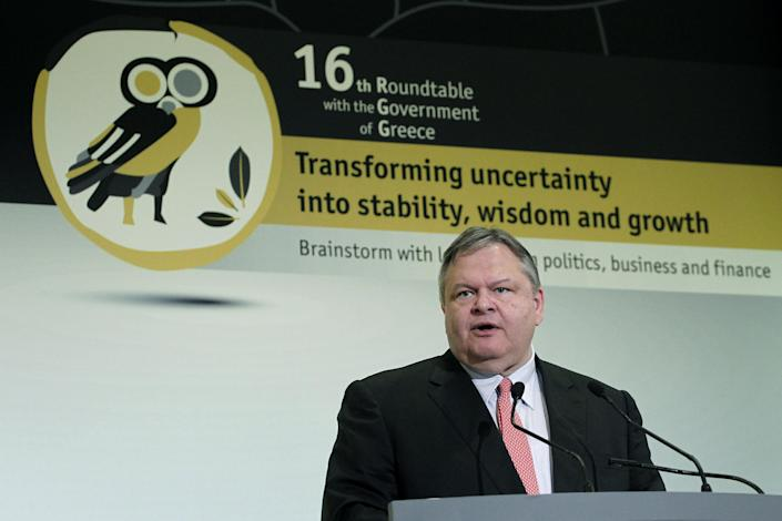 Leader of the Socialist PASOK party Evangelos Venizelos speaks during an Economist conference in Athens, on Tuesday, July 3, 2012. The government is seeking to amend Greece's bailout program as it battles a fifth year of recession.( AP Photo/Petros Giannakouris)