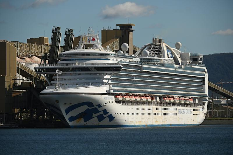 Cruise liner Ruby Princess sits in the harbour in Port Kembla, 80km south of Sydney on April 6, 2020.  (Photo: PETER PARKS via Getty Images)