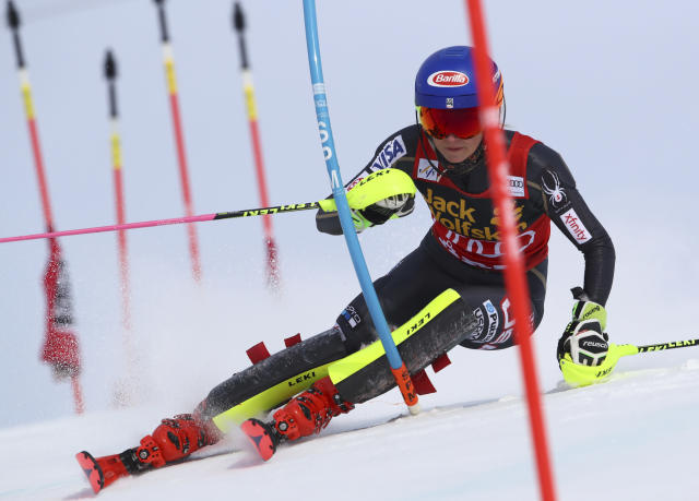 United States's Mikaela Shiffrin competes during a women's slalom at the alpine ski World Cup finals in Are, Sweden, Saturday, March 17, 2018. (AP Photo/Alessandro Trovati)