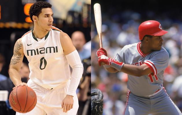 University of Miami's Shane Larkin's father is Barry Larkin -- a Hall of Fame shortstop for the Cincinnati Reds.