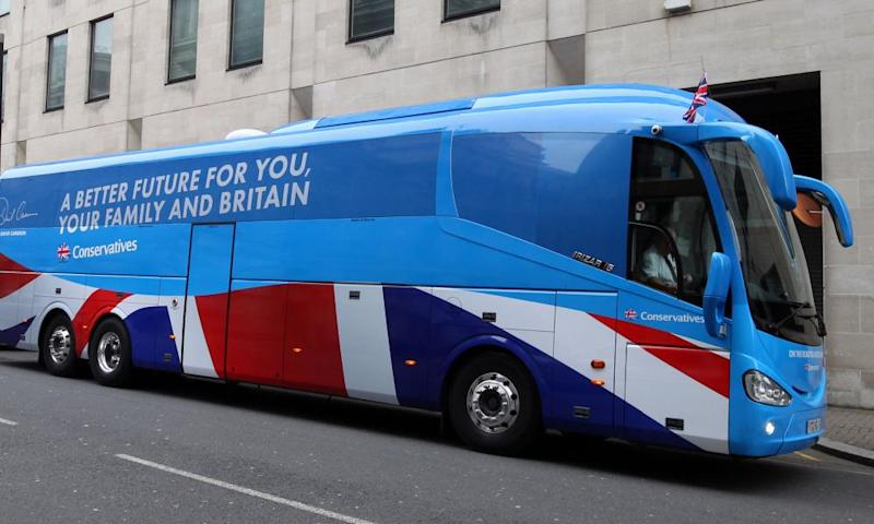 A Conservative party campaign bus