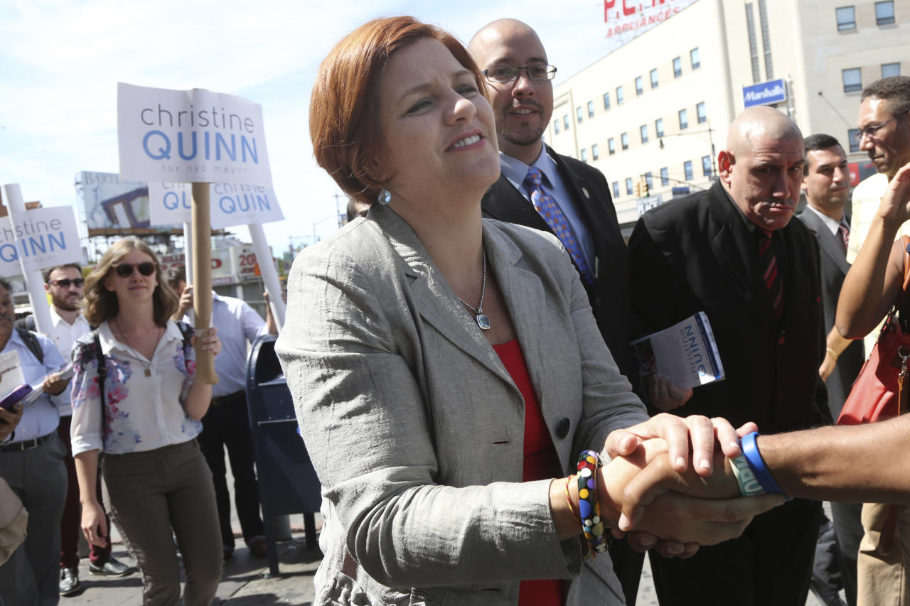 New York City Democratic mayoral hopeful and City Council Speaker Christine Quinn greets a voter during a campaign stop in the Bronx borough of New York, Thursday, Sept. 5, 2013. The Democratic primary election is Tuesday, Sept. 10. (AP Photo/Mary Altaffer)