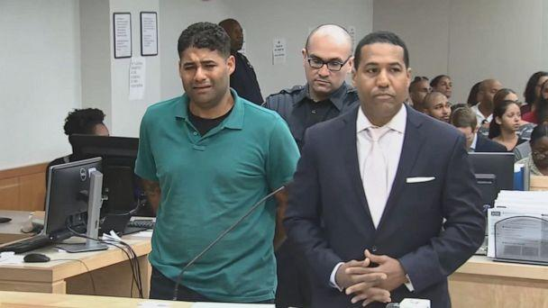 PHOTO: Juan Rodriguez, left, who spent much of his first court appearance in tears, pleaded not guilty to criminally negligent homicide after his 1-year-old twins died in a hot car after forgetting to drop them off at day care on Friday, July 27, 2019. (WABC)