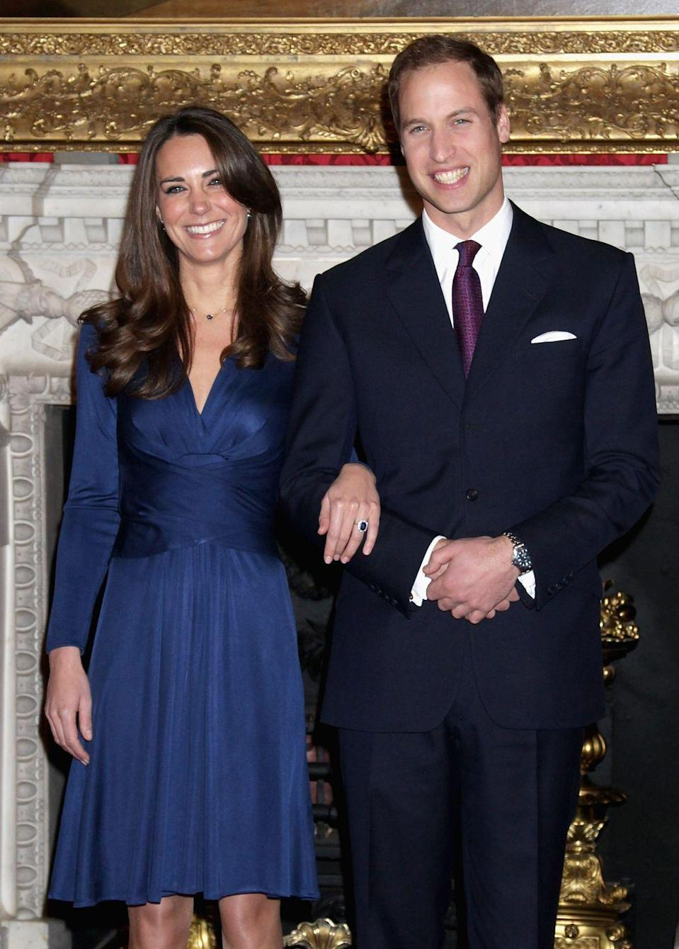 "<p>The beaming couple officially announced their engagement on November 16. After being dubbed ""Waity Katie"" because of their lengthy courtship, Prince William proposed with a ring worn by the late Princess Diana.</p>"