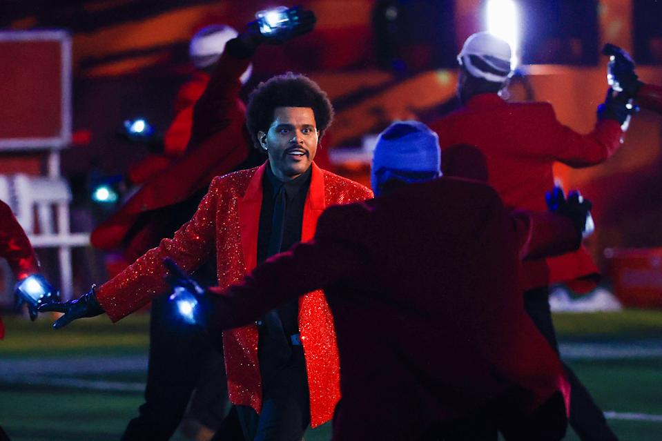 TAMPA, FLORIDA - FEBRUARY 07: The Weeknd performs during the Pepsi Super Bowl LV Halftime Show at Raymond James Stadium on February 07, 2021 in Tampa, Florida. (Photo by Mike Ehrmann/Getty Images)