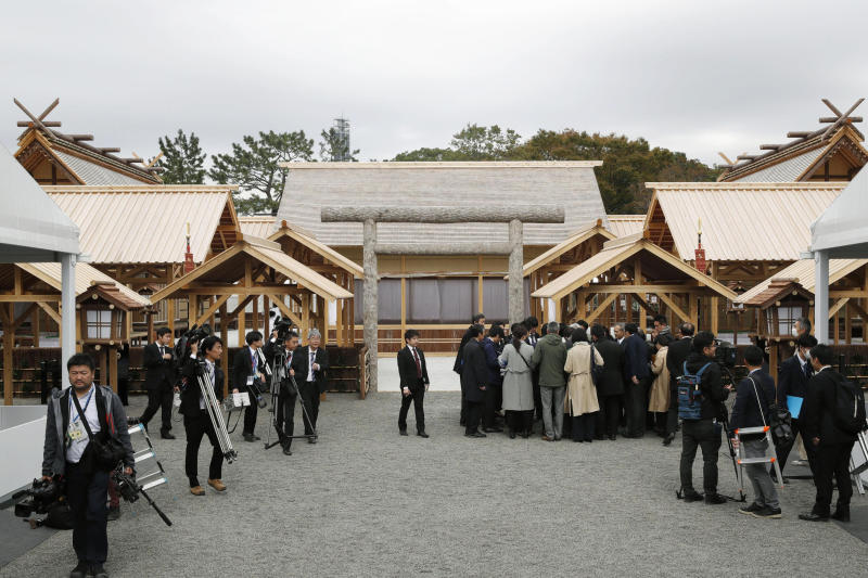 The ritual venue called Daijokyu is seen at the Imperial Palace in Tokyo, Wednesday, Nov. 13, 2019.  Japan's Emperor Naruhito will perform his first harvest ritual since ascending to the Chrysanthemum Throne on Nov. 14, 2019. It's called Daijosai, or great thanksgiving festival, the most important imperial ritual that an emperor performs only once in his reign. (Fumine Tsutabayashi/Kyodo News via AP)