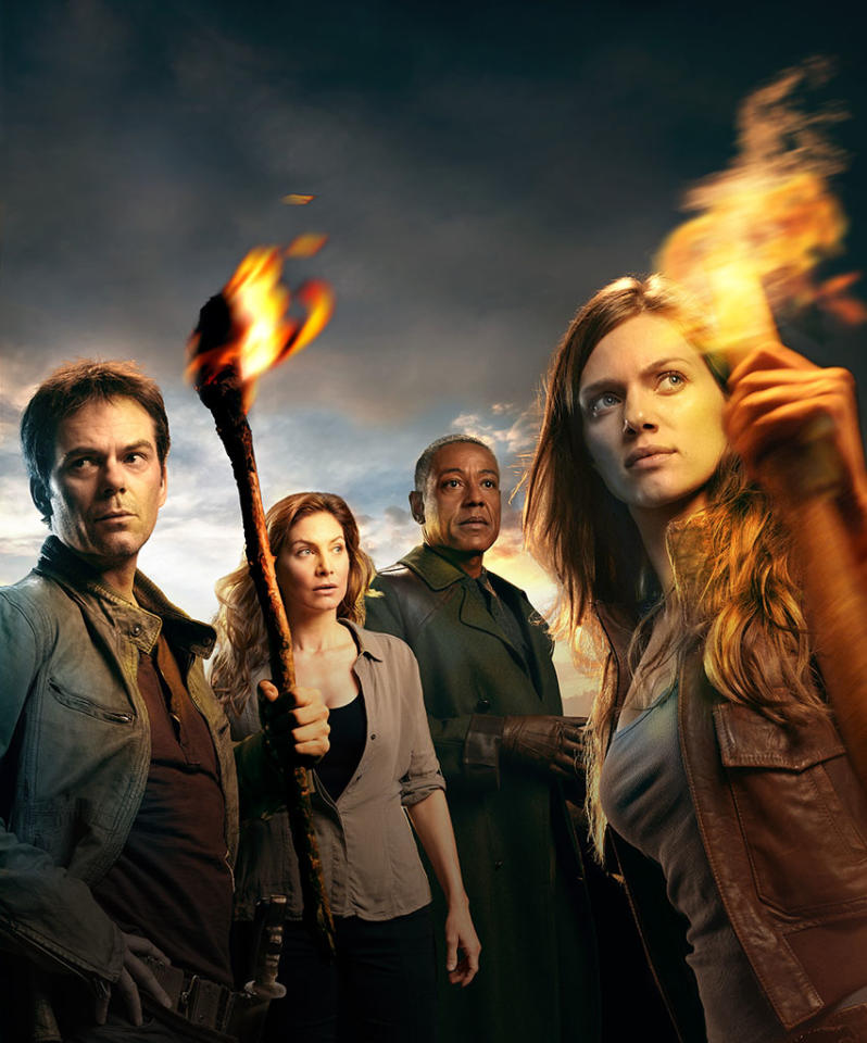 """Revolution"" Season 1 -- Pictured: (l-r) Billy Burke as Miles, Elizabeth Mitchell as Rachel, Giancarlo Esposito as Lt. Neville, Tracy Spiridakos as Charlie"
