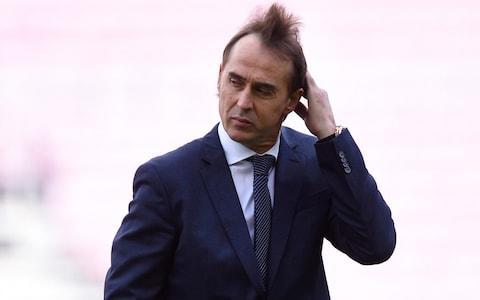 Julen Lopetegui, Manager of Real Madrid looks on as heads on target walks on the pitch prior to the La Liga match between FC Barcelona and Real Madrid - Credit: Getty Images