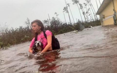 Julia Aylen wades through waist deep water carrying her pet dog as she is rescued from her flooded home during Hurricane Dorian in Freeport, Bahamas - Credit: AP Photo/Tim Aylen