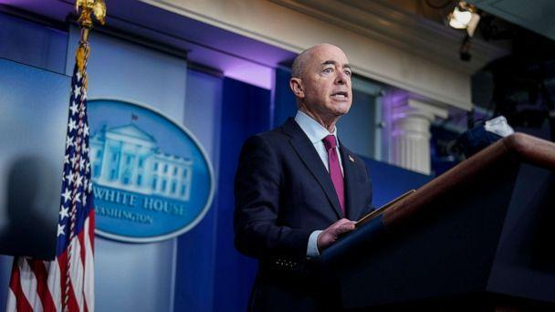 PHOTO: Secretary of Homeland Security Alejandro Mayorkas speaks during a press briefing at the White House on March 1, 2021, in Washington. (Drew Angerer/Getty Images)