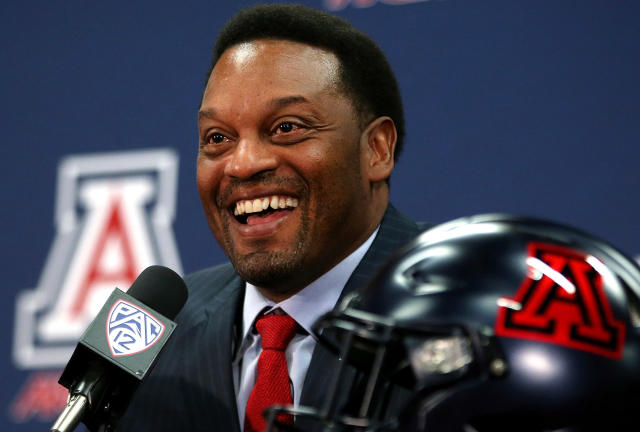 FILE - In this Jan. 16, 2018, file photo, new University of Arizona Wildcats head football coach Kevin Sumlin speaks during his introductory press conference at the Lowell-Stevens Football Facility in Tucson, Ariz. The Pac-12 has five new coaches this season, so there was extra importance on spring football this year at UCLA, the two Arizona schools and the two Oregon schools. (Mike Christy/Arizona Daily Star via AP, File)