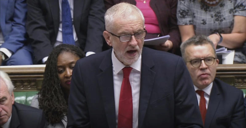 Britain's Labour Party leader Jeremy Corbyn responds to Prime Minister Boris Johnson's statement to lawmakers inside the House of Commons in London Saturday Oct. 19, 2019. At a rare weekend sitting of Parliament, Johnson implored legislators to ratify the Brexit deal he struck this week with the other 27 EU leaders. (House of Commons via AP)