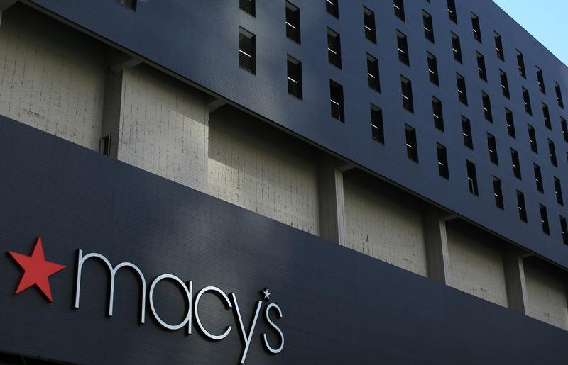 The Macy's logo is pictured on the side of a building in down town Los Angeles