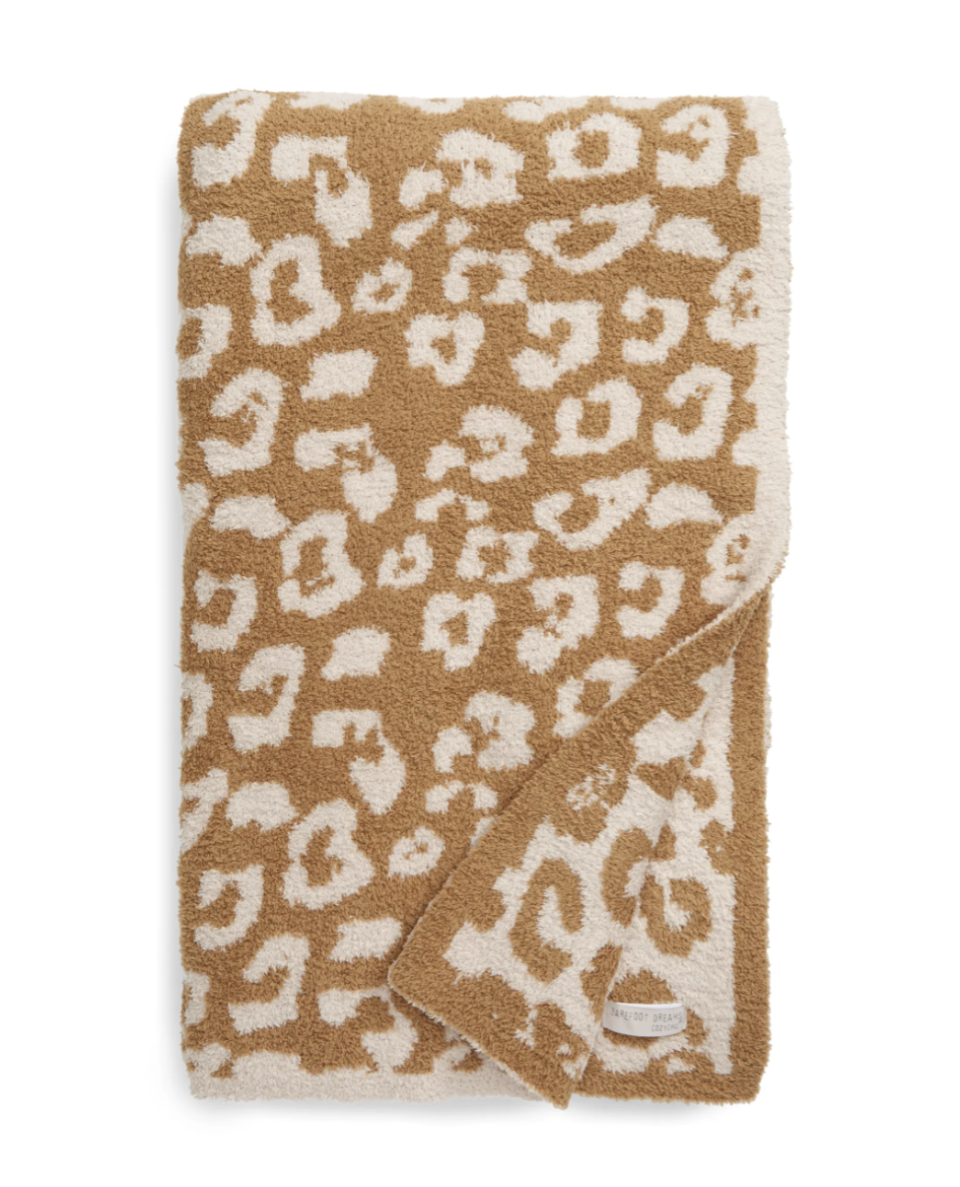 Barefoot Dreams In the Wild Throw Blanket in Camel/Stone (Photo via Nordstrom)