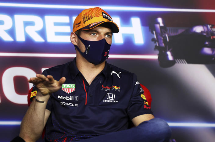 Red Bull driver Max Verstappen of the Netherlands attends a media conference ahead of the Austrian Formula One Grand Prix at the Red Bull Ring racetrack in Spielberg, Austria, Thursday, July 1, 2021. (Clive Rose/Pool Photo via AP)
