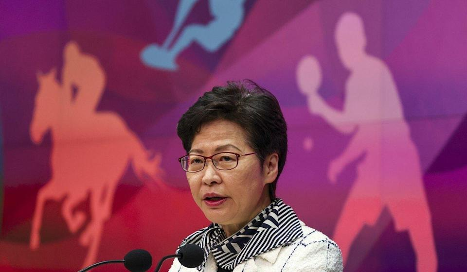 Chief Executive Carrie Lam speaks to the press on Tuesday. Photo: Nora Tam