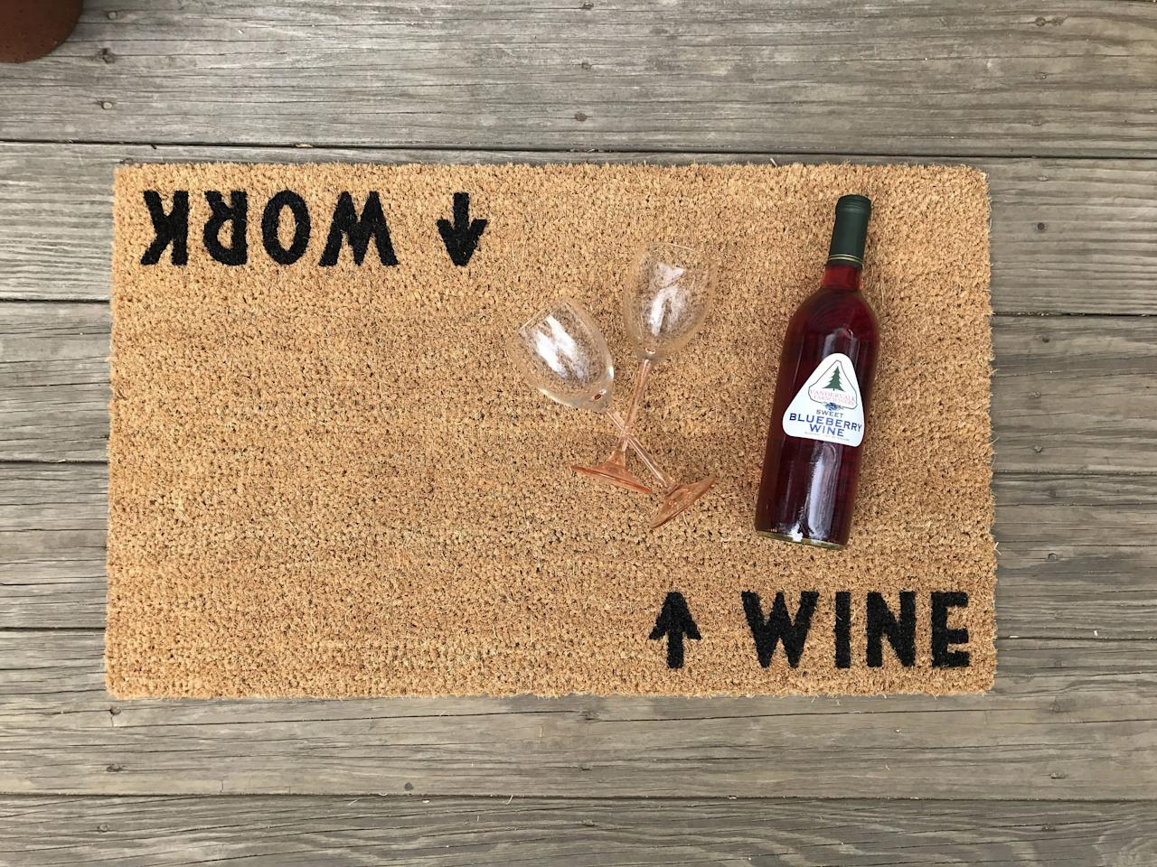 "<p><strong>Etsy</strong></p><p>etsy.com</p><p><strong>Out of Stock</strong></p><p><a rel=""nofollow"" href=""https://www.etsy.com/listing/512015258/wine-work-mat-doormat-perfect"">BUY NOW</a></p><p>Show off your wine-loving personality with this clever doormat that gets almost a little too real.</p>"