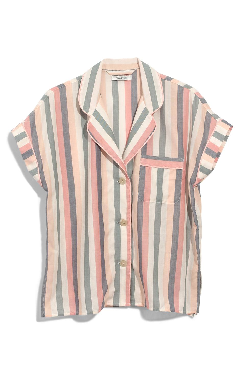 "<p><strong>Madewell</strong></p><p>nordstrom.com</p><p><strong>$34.99</strong></p><p><a href=""https://shop.nordstrom.com/s/madewell-bedtime-lonnie-stripe-pajama-top/5133107"" rel=""nofollow noopener"" target=""_blank"" data-ylk=""slk:SHOP NOW"" class=""link rapid-noclick-resp"">SHOP NOW</a></p><p>We heart this <a href=""https://www.womansday.com/relationships/dating-marriage/a60733/brides-first-look-wedding-prank-photo/"" rel=""nofollow noopener"" target=""_blank"" data-ylk=""slk:cozy PJ top"" class=""link rapid-noclick-resp"">cozy PJ top</a> - and we know she will too.</p>"