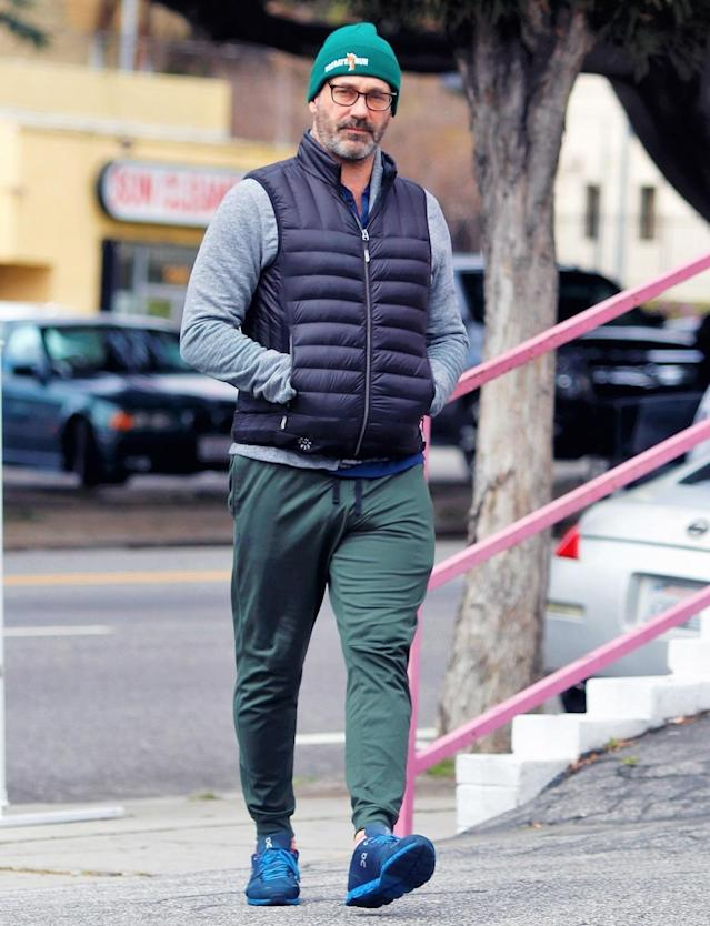 <p>Jon Hamm bundles up a bit for a stroll in Los Angeles on Thursday.</p>