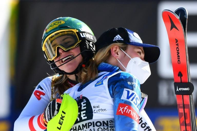 Katharina Liensberger embraced Mikaela Shiffrin after beating her to slalom gold