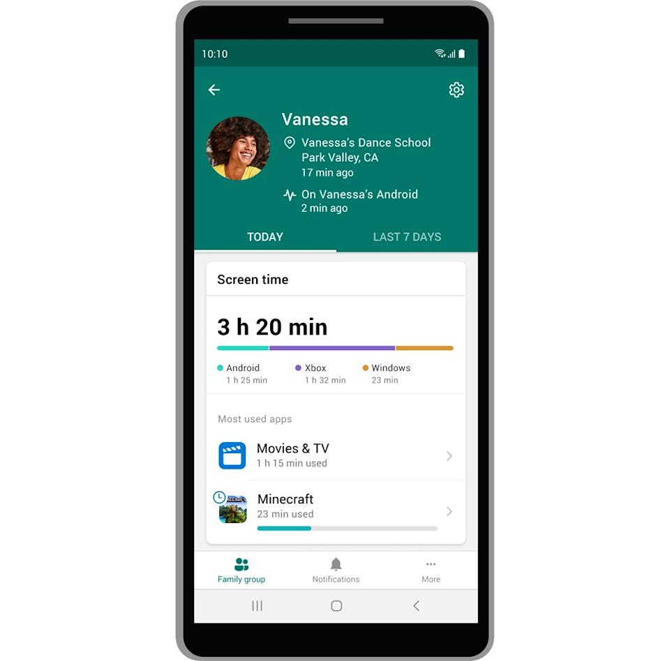 Microsoft's new safety app can help you track your family members' locations, and the kinds of apps they're using. (Image: Microsoft)