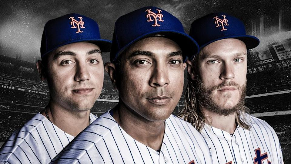 Michael Conforto, Luis Rojas, and Noah Syndergaard TREATED ART