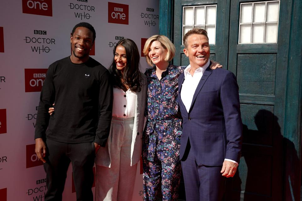 L-R: Tosin Cole, Mandip Gill, Jodie Whittaker, Bradley Walsh, at the red carpet launch for <i>Doctor Who</i> S11 (BBC/Ben Blackall)