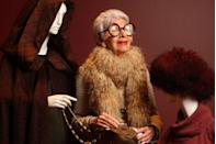 <p>Iris poses at the ripe age of 87 with just one section of her extensive and iconic wardrobe that was set up for viewing at the Peabody Essex Museum in Salem, Massachusetts.<br></p>