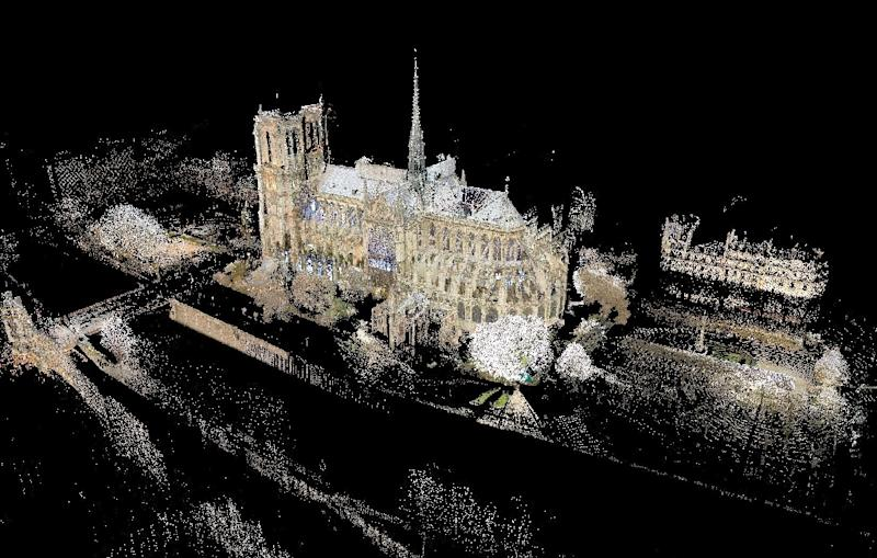 Art professor Andrew Tallon's laser scan of the Notre-Dame cathedral (AFP Photo/Andrew TALLON)
