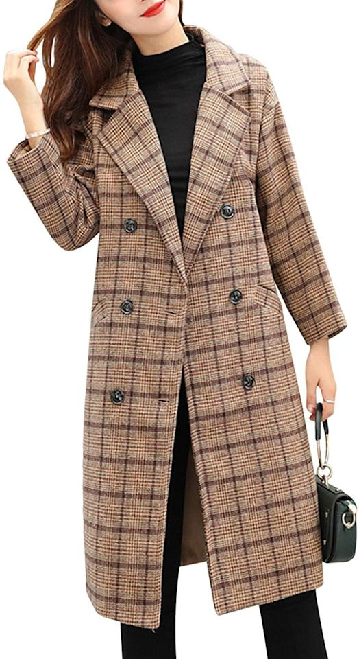 """<p>Stay bundled up in this <a href=""""https://www.popsugar.com/buy/Tanming-Double-Breasted-Plaid-Wool-Blend-Coat-491787?p_name=Tanming%20Double-Breasted%20Plaid%20Wool-Blend%20Coat&retailer=amazon.com&pid=491787&price=50&evar1=fab%3Aus&evar9=46689807&evar98=https%3A%2F%2Fwww.popsugar.com%2Ffashion%2Fphoto-gallery%2F46689807%2Fimage%2F46689835%2FTanming-Double-Breasted-Plaid-Wool-Blend-Coat&list1=shopping%2Cfall%20fashion%2Camazon%2Cjackets&prop13=mobile&pdata=1"""" rel=""""nofollow"""" data-shoppable-link=""""1"""" target=""""_blank"""" class=""""ga-track"""" data-ga-category=""""Related"""" data-ga-label=""""https://www.amazon.com/Tanming-Womens-Double-Breasted-Outerwear/dp/B07LCBLVFZ/ref=sr_1_6?crid=7G1L78Q9FURI&amp;keywords=peacoat+for+womens&amp;qid=1568746247&amp;sprefix=peacoat+%2Caps%2C197&amp;sr=8-6"""" data-ga-action=""""In-Line Links"""">Tanming Double-Breasted Plaid Wool-Blend Coat </a> ($50).</p>"""