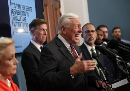 U.S. House Majority Leader Hoyer and other Deomocratic members of congress ask Senate to take up gun violence legislation already passed by the House on Capitol Hill in Washington