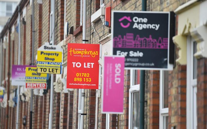 Placards from various estates agents advertising properties To Let , For Sale and Sold on March 03, 2021 in Stoke-on-Trent, England - Nathan Stirk/Getty Images Europe