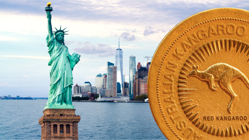 A mammoth coin has visited New York. Images: Getty, Perth Mint