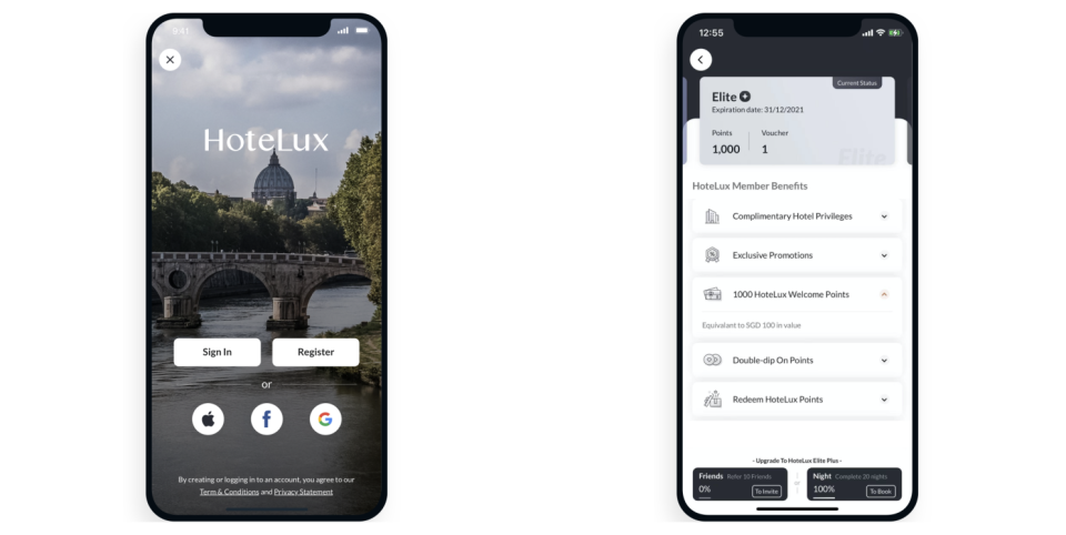 The interface of HoteLux app. (PHOTO: HoteLux)