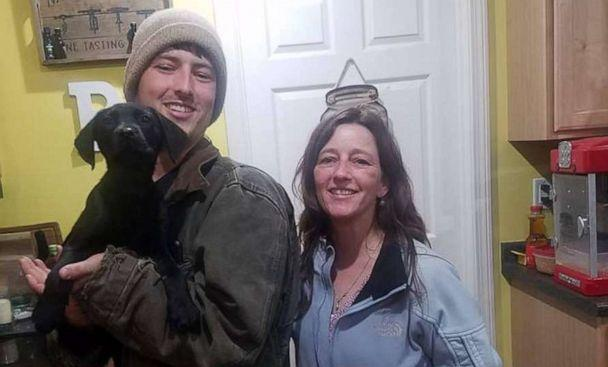 PHOTO: Nick Abbott, 31, of Maine, is seen in a recent photo with his mother, Richelle Abbott and dog, Emerson. Both Nick Abbott and Emerson are deaf. (Courtesy Richelle and Nick Abbott )