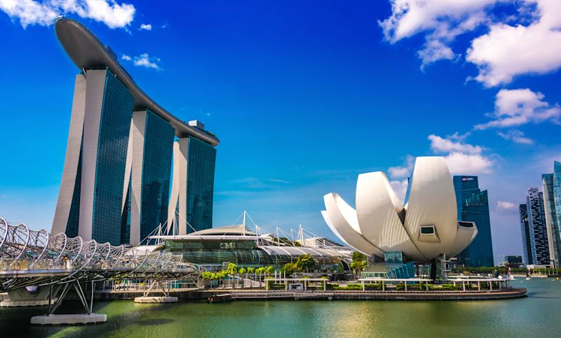 SINGAPORE - MAR 2, 2020: Marina Bay Sands and ArtScience Museum in Singapore