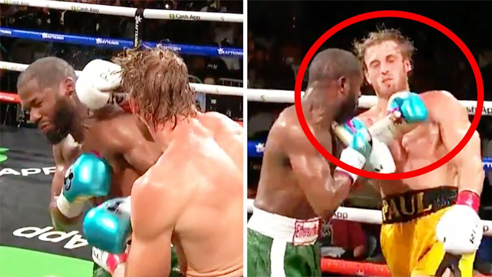 Logan Paul (pictured left) punching Floyd Mayweather and (pictured right) receiving a punch.