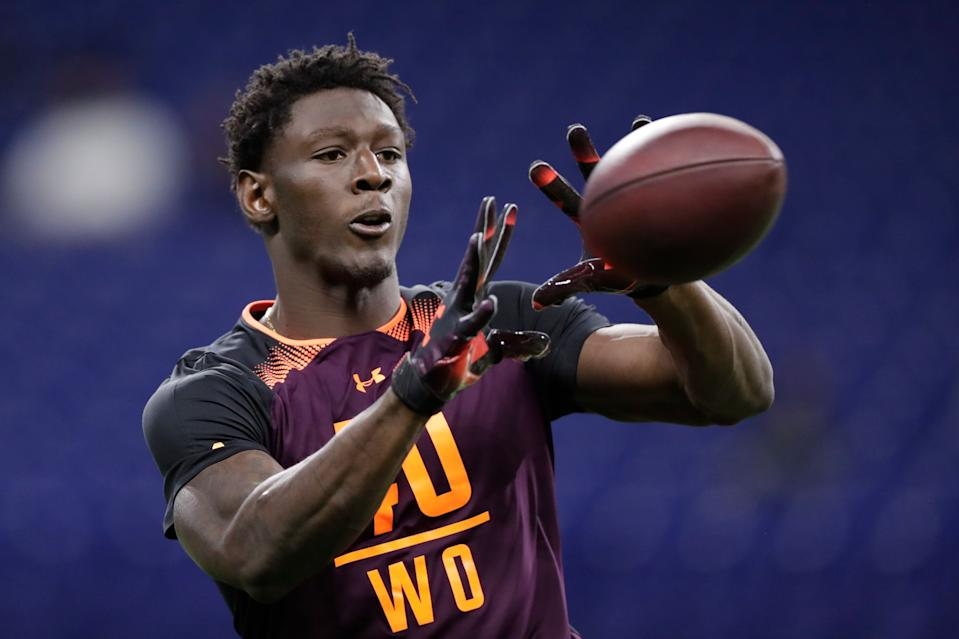 Georgia wide receiver Riley Ridley runs a drill at the NFL scouting combine (AP Photo)