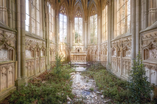 <p>Nature has found its way into the nave of this Gothic church. (Photo: Roman Robroek/Caters News) </p>