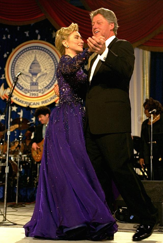 President and Mrs. Clinton dance at the Arkansas Ball, Wednesday night, January 20, 1993, at the Washington Convention Center. (AP Photo/Greg Gibson)