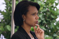 FILE - In this Tuesday, Sept. 11, 2001 file photo, Condoleezza Rice, National Security Adviser, waits for President Bush to arrive on the South Lawn of the White House in Washington. (AP Photo/Pablo Martinez Monsivais, File)