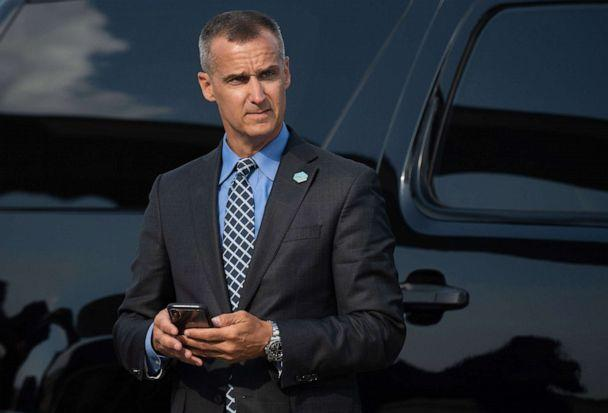 PHOTO: Corey Lewandowski, former campaign manager for President Donald Trump, watches as Trump disembarks from Air Force One upon arrival at Cincinnati/Northern Kentucky International Airport in Hebron, Ky., Aug. 1, 2019, for a campaign rally. (Saul Loeb/AFP/Getty Images, FILE)