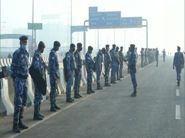 Security forces have been deployed along the Delhi-UP border Ghazipur on Friday amid farmers' protest. (Photo/ANI)